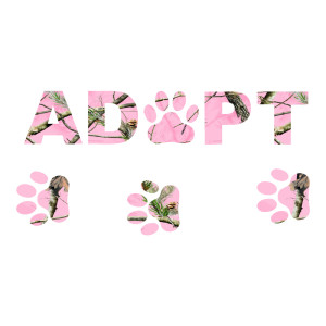 Adopt Pink Camo Rescue Animal Stickers Car Decals