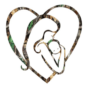 Camo Mom Holding Baby Heart Car Decal