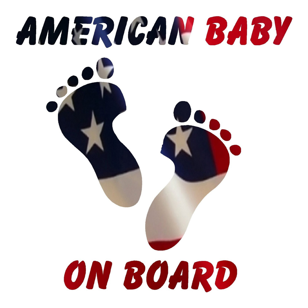 American Flag Baby on Board Stickers Car Decals