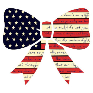 American Flag Bow Die Cut sticker