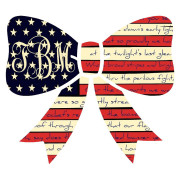 Monogrammed American Flag Bow Sticker