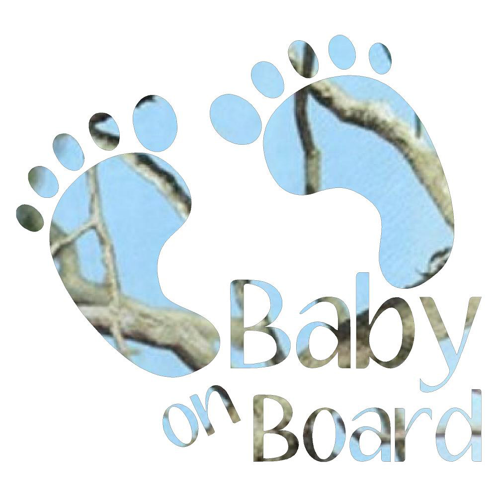Blue Baby On Board Footprints Car Decals