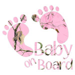 Pink Baby On Board Footprints Stickers Car Decals