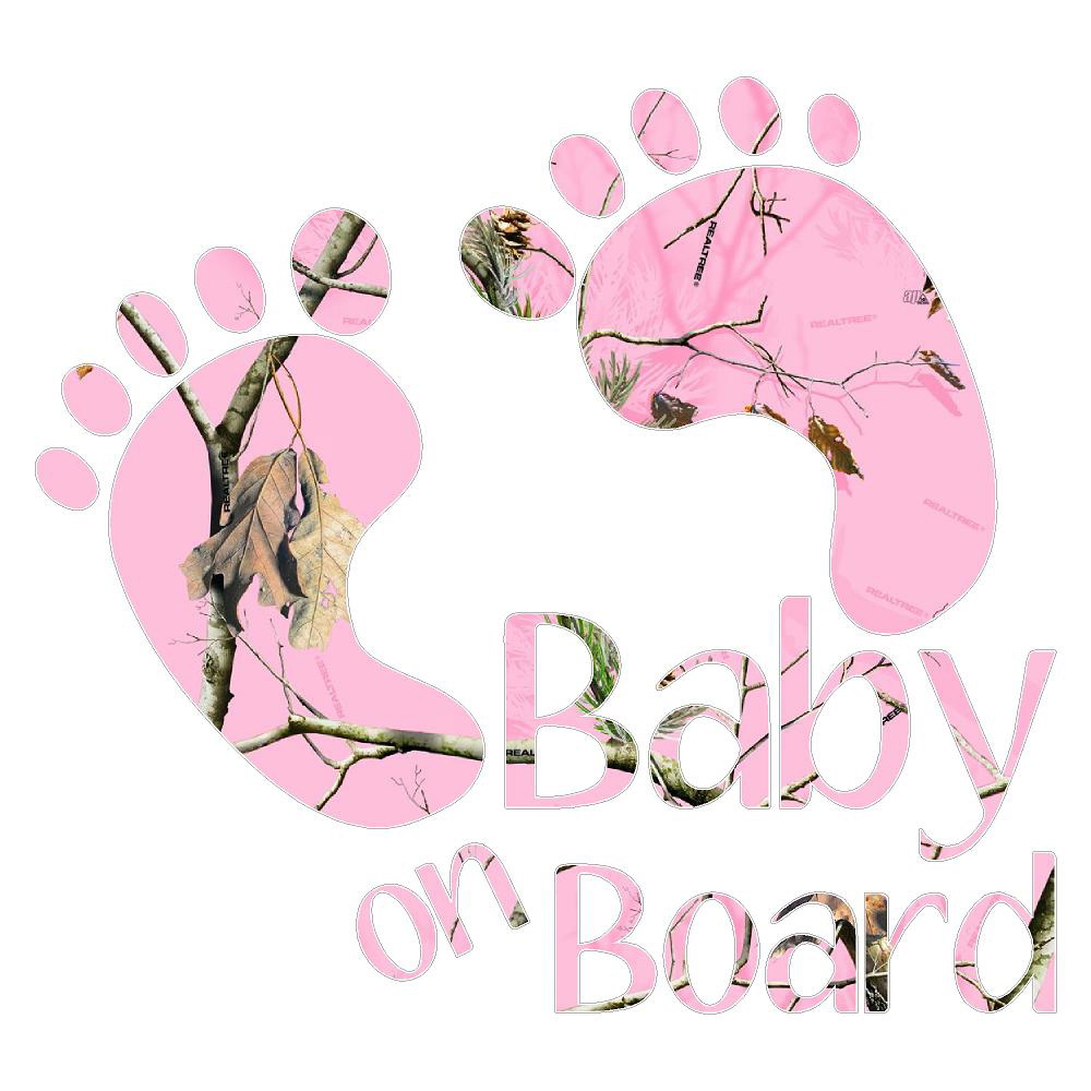 Pink Baby On Board Footprints Stickers Car Decals Camo