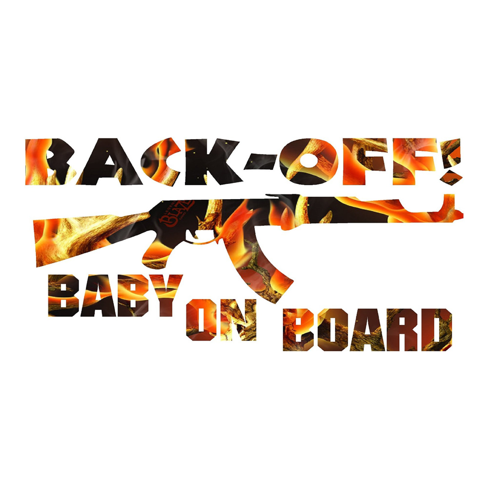 Blaze Camo Back Off Baby on Board Stickers Car Decals
