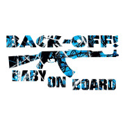 Blue Camo Back Off Baby On Board Stickers Car Decals