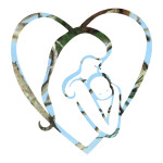 Blue Camo Mom Holding Baby in Heart Stickers Wall Decal