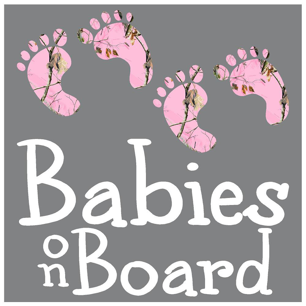 Babies on Board Pink Camo Hunting Stickers