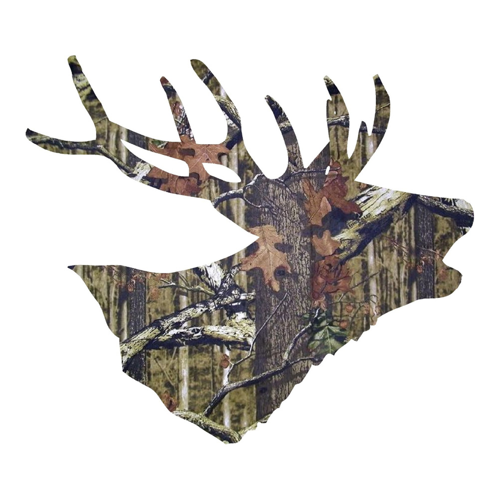 Camo Buck Head Turned Sideways Hunting Stickers