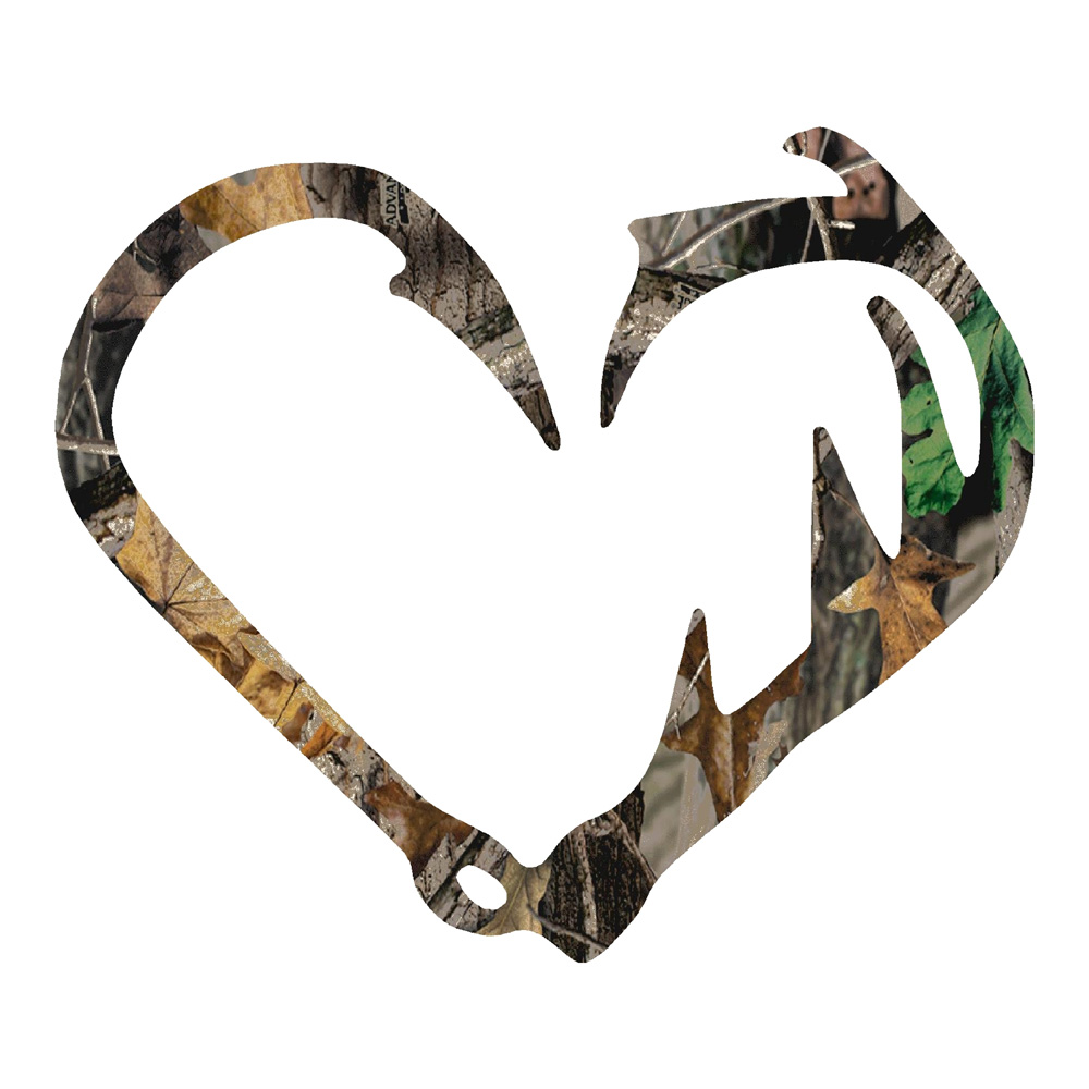 Camo antler fish hook hunting fishing stickers decals for Hunting and fishing decals