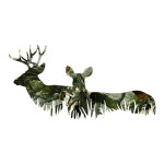 Green Grass Buck and Doe Camo Hunting Stickers