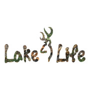 Camo Lake Life with Buck head Die cut stickers