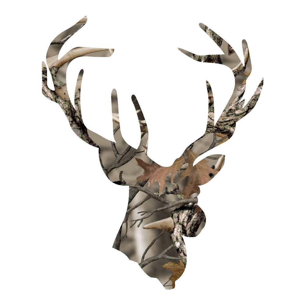 Camo Buck Head with Large Antlers Hunting Stickers