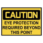 Caution: Eye Protection Required Warning Stickers
