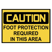 Caution: Foot Protection Warning Stickers