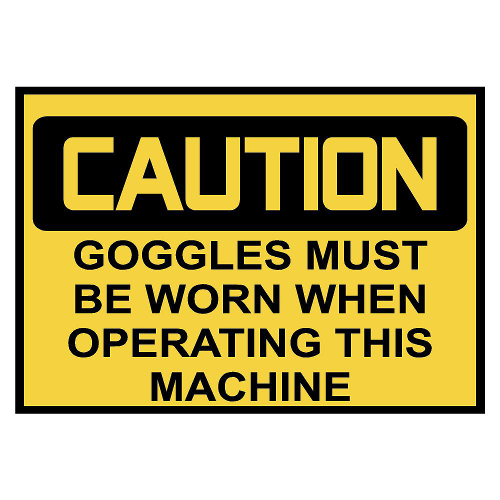 Caution: Goggles Warning Sticker