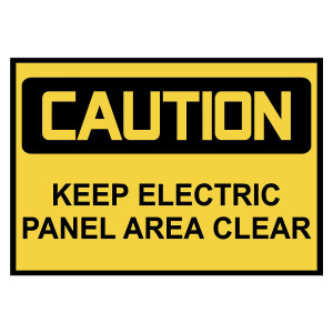 Caution: Keep Electric Panel Area Clear Warning Stickers