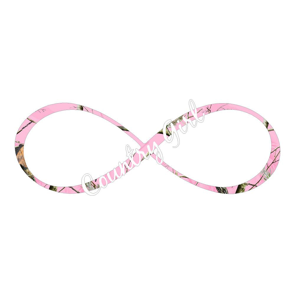 Country Pink Camo Infinity Truck Stickers
