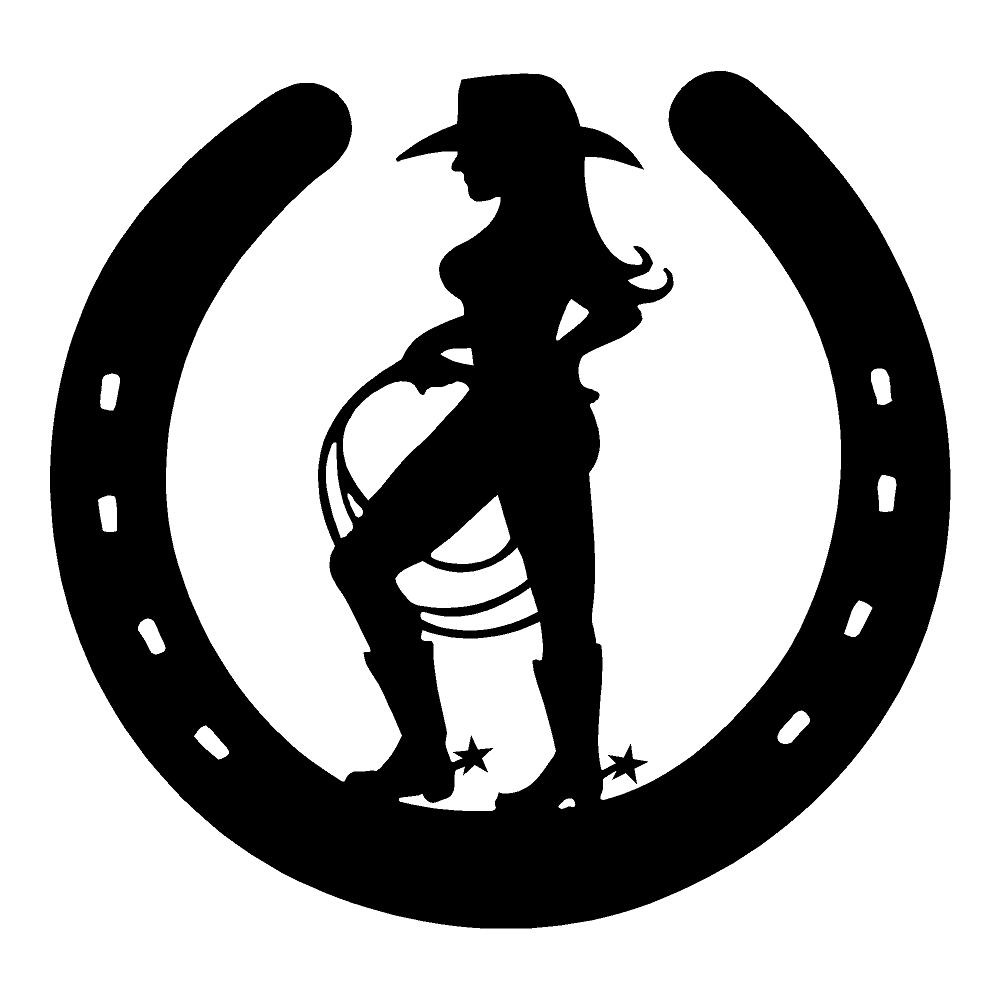 Cowgirl Horseshoe Waterproof Western Stickers