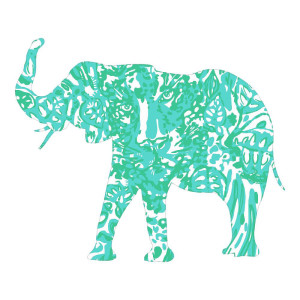 Elephant Green Animal Stickers Colorful Decal Wall Decal