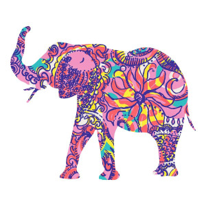 Elephant Purple Animal Stickers Colorful Decal Wall Decal
