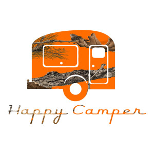 Happy Camper Blaze Camo Waterproof Stickers