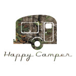 Happy Camper Camo Outdoor Stickers