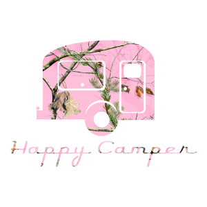 Happy Camper Pink Camo Die Cut Stickers