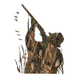 Camo Hunter Shooting Ducks Hunting Stickers