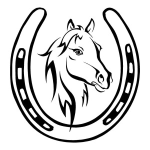 Horse in Horseshoe Animal Stickers Car Decals Wall Decal