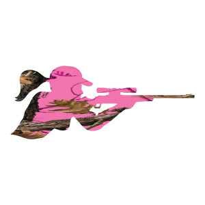 Hot Neon Pink Camo Girl Shooting Rifle Sticker