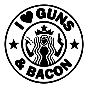 I Love Guns and Bacon Funny Stickers