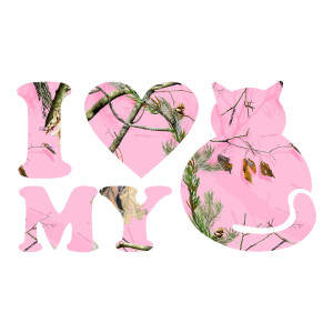 I Love My Cat Pink Camo Animals Stickers Car Decals