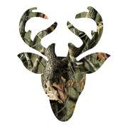 Large Green Leaf Buckhead with Curved Antlers Hunting Sticker