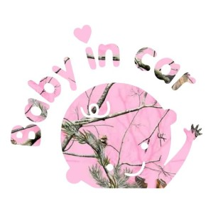 Light Pink Camo Baby in Car Truck Stickers