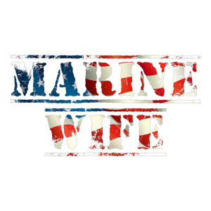 Marine Wife American Flag Waterproof Stickers