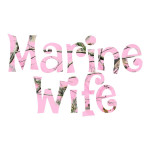 Marine Wife Pink Camo Waterproof Stickers