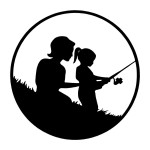 Mom and Daughter Fishing Round Stickers