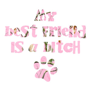 Pink Camo My Best Friend is a Bitch Funny Stickers Dogs