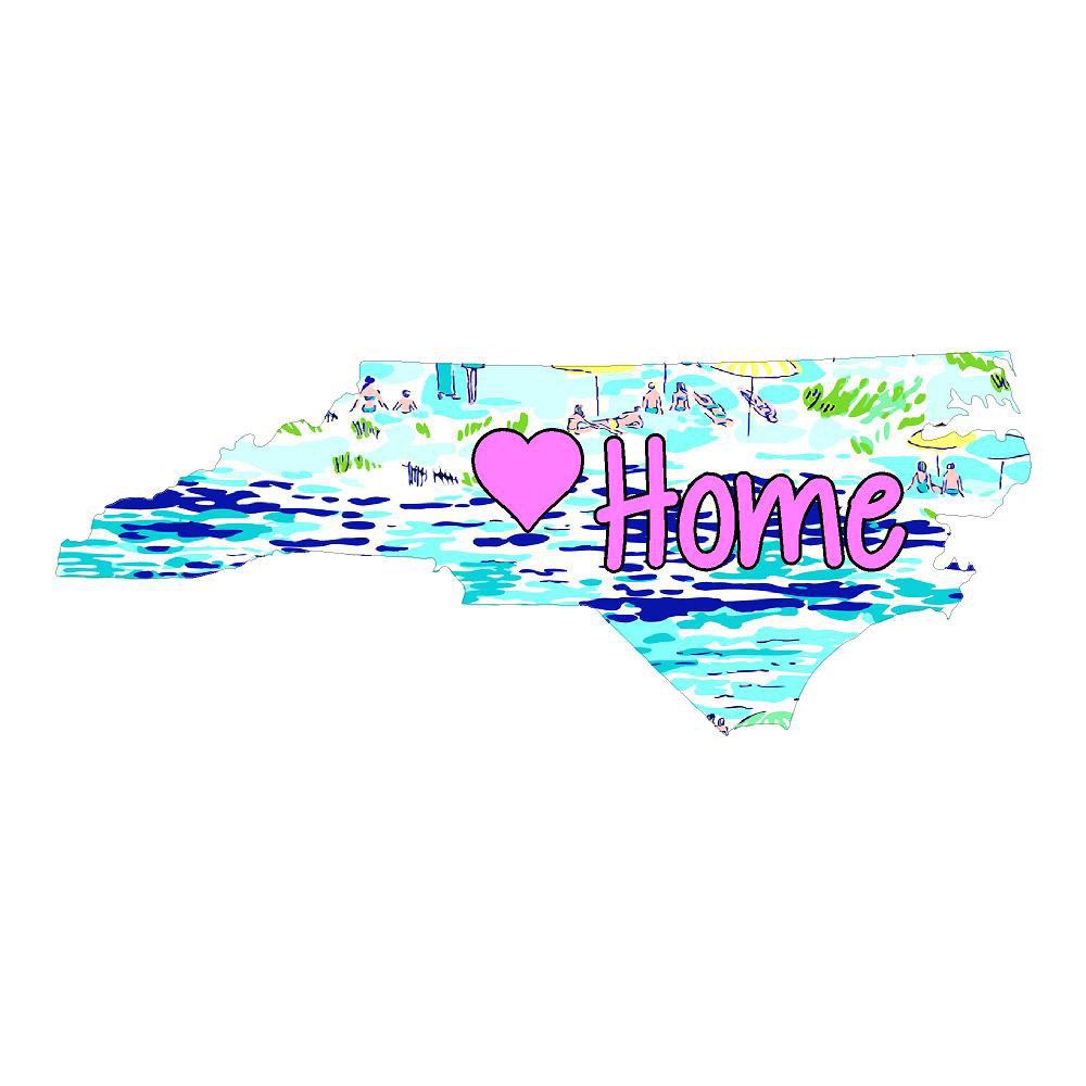 North Carolina Home with Pink Heart Die Cut Stickers