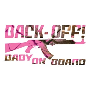 Neon Hot Pink Camo Back Off Baby on Board Car Decals