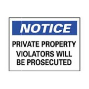 Notice Private Property Caution Stickers