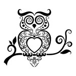 Swirly Tribal Owl Sticker