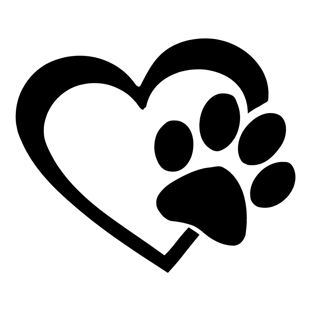 Paw Print Heart Animal Stickers Dogs Cats Car Decals