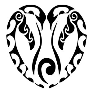 Penguin Heart Tribal Stickers Animals Car Decals