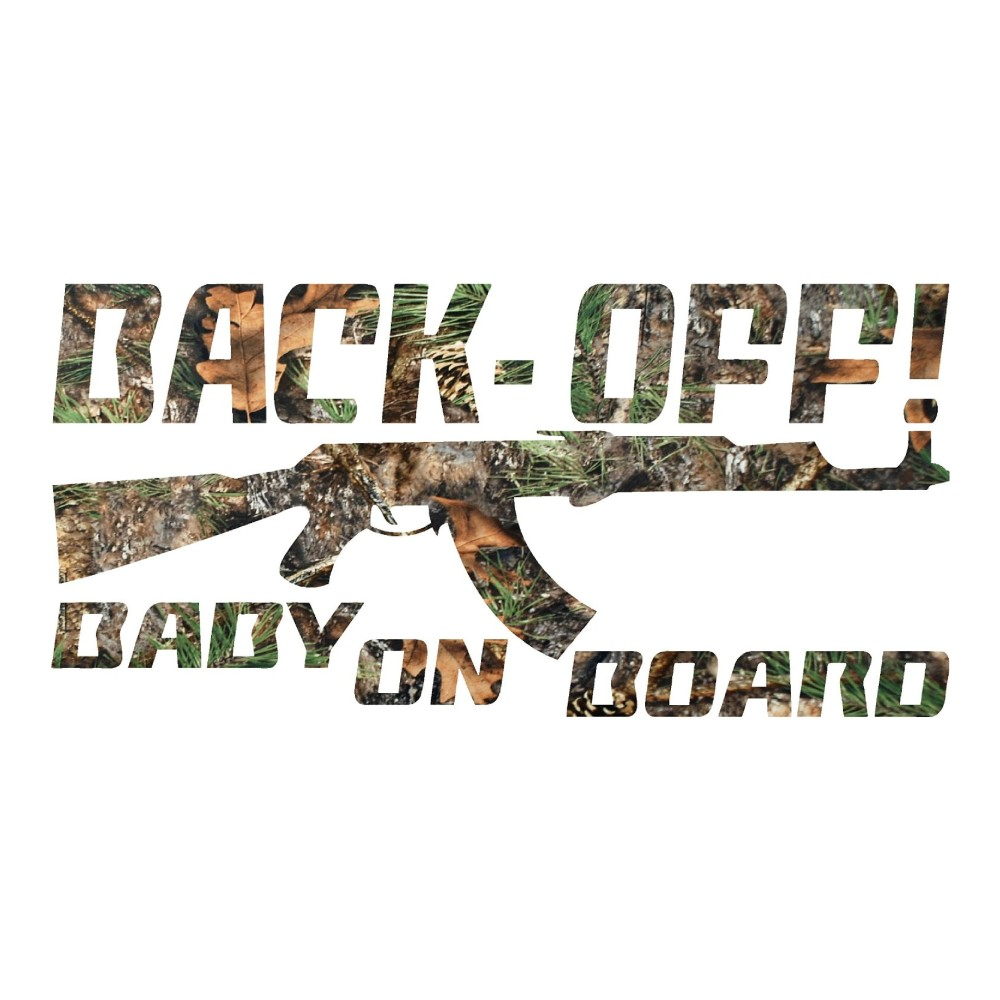Pine Cone camo Back Off Baby on Board Truck Stickers