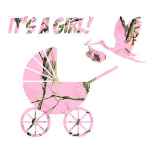 Pink Camo It's A Girl Waterproof Stickers