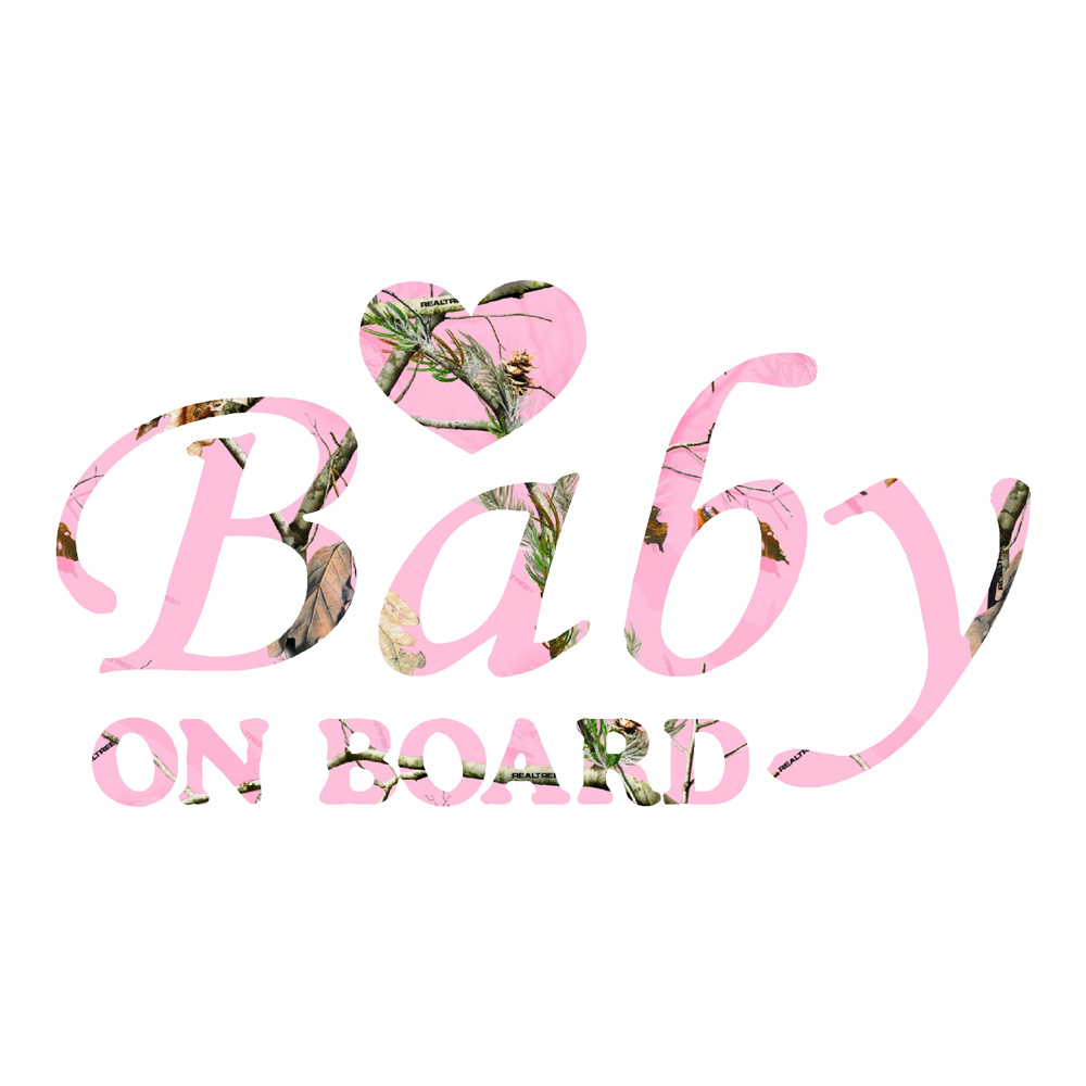 Pink Camo Baby on Board with Heart Stickers Car Decals
