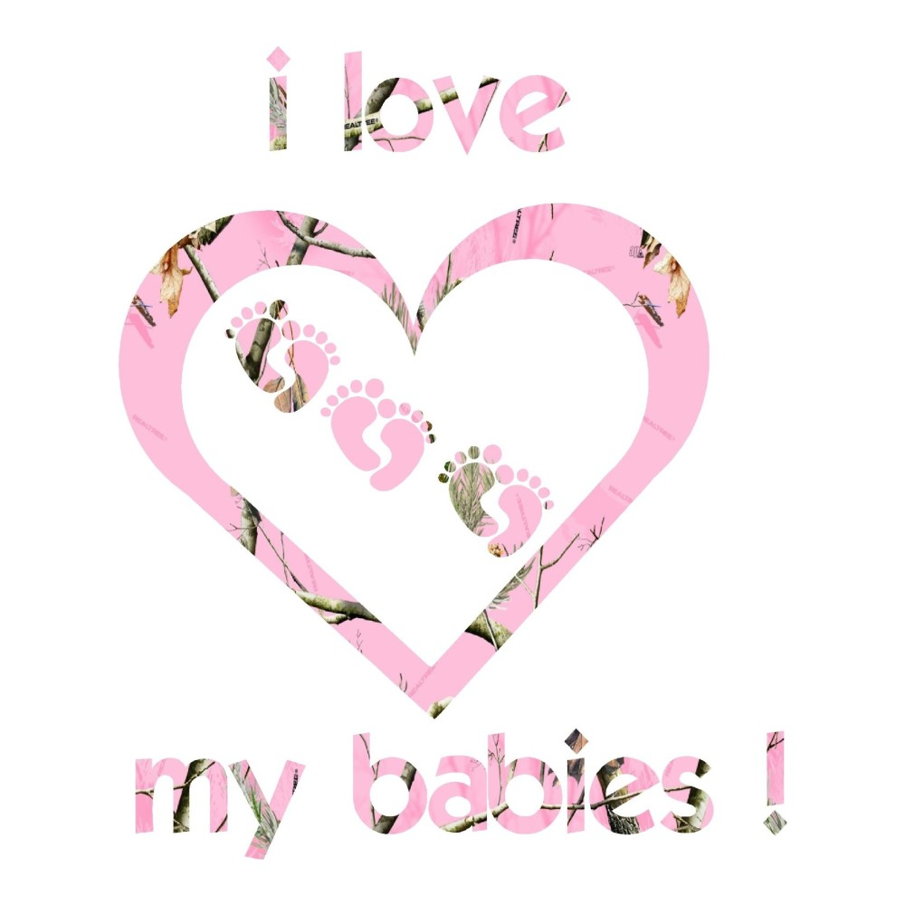Pink Camo I Love My Babies Car Decals