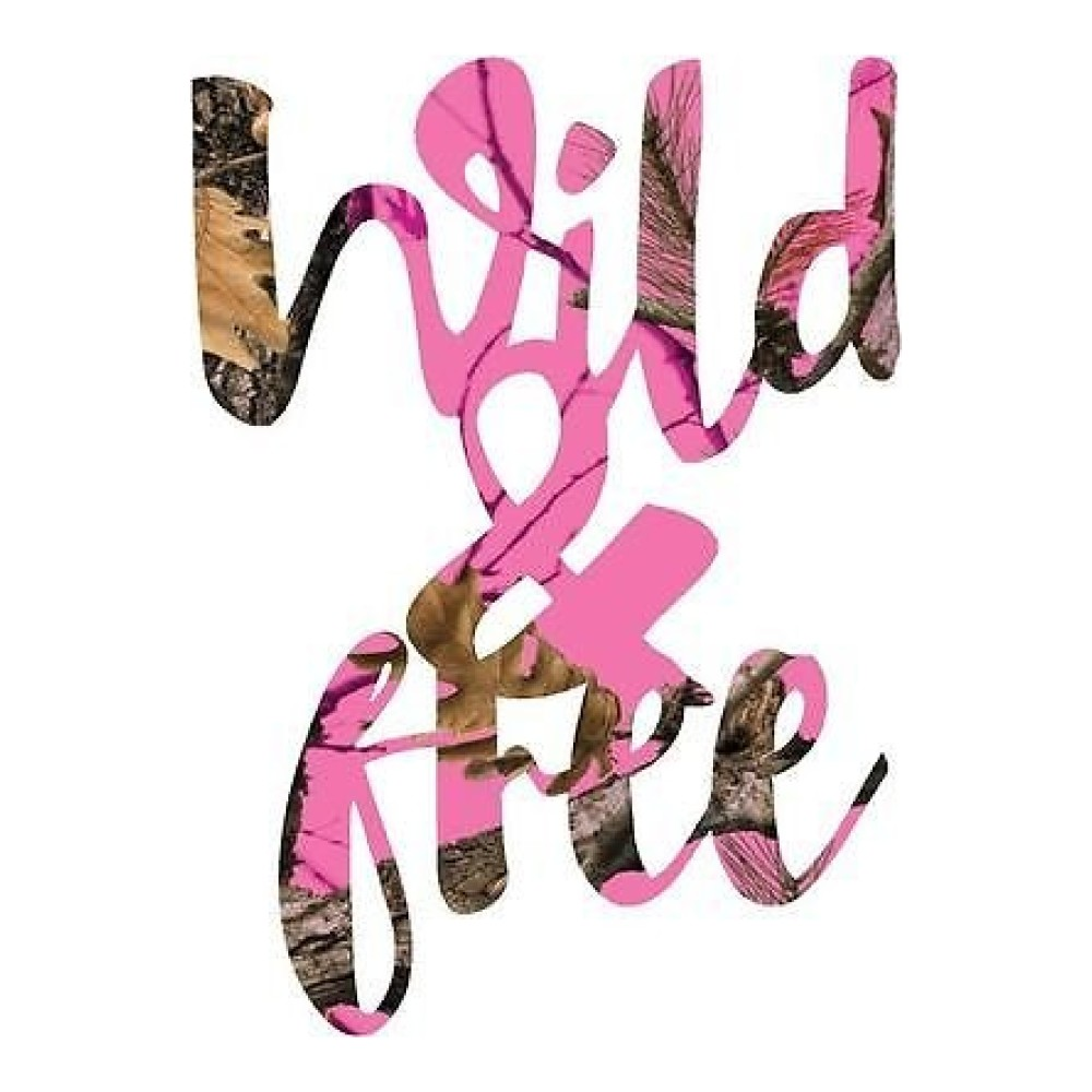 Pink Neon Camo Wild and Free Truck Stickers